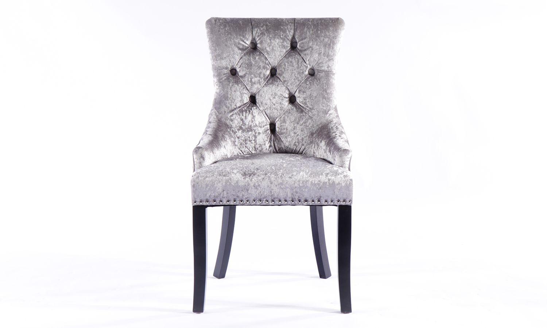 4 x Silver Velvet Knockerback Dining Chair