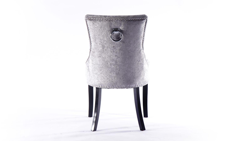 6 x Silver Velvet Knockerback Dining Chair