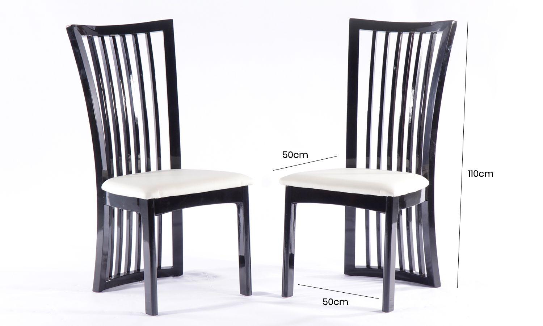 4 x Urban Deco Athena Black High Gloss Slatted Dining Chair