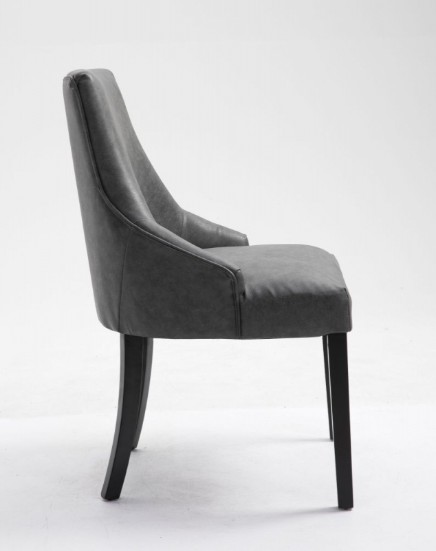 4 x Loire Grey Faux Leather Dining Chair