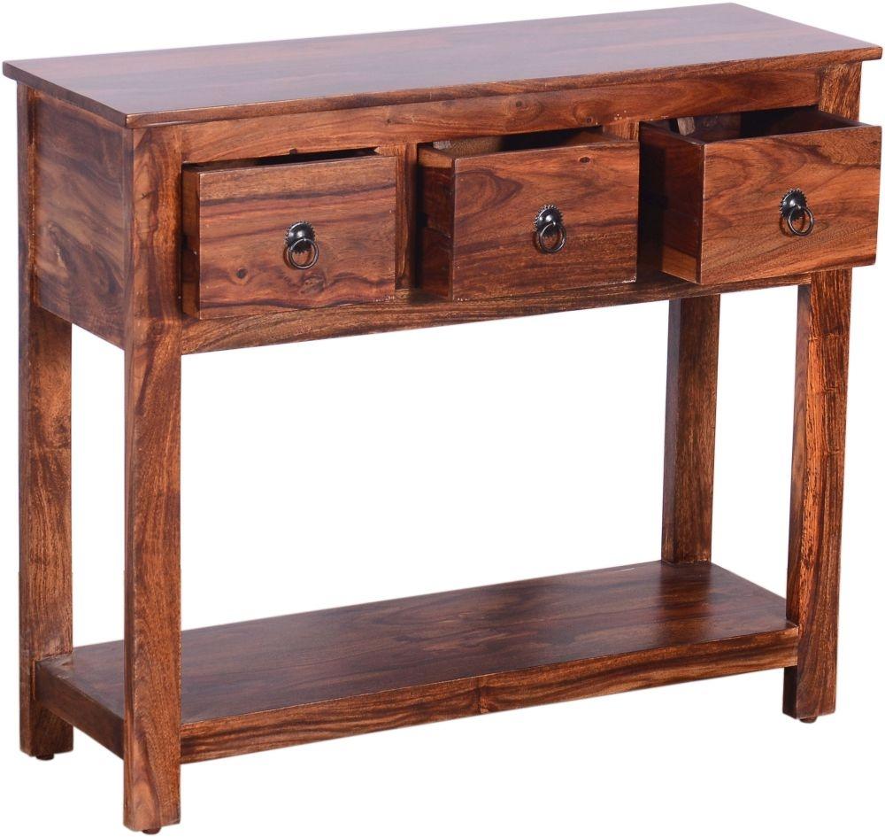 Urban Deco Ganga Sheesham 3 Drawer Wide Console Table