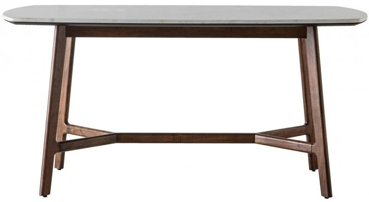 Gallery Barcelona Acacia Wood and White Marble Top Dining Table