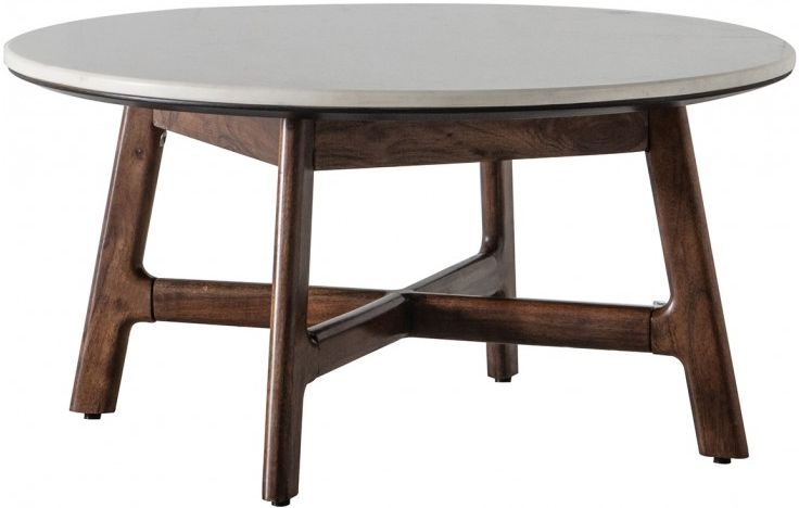Gallery Barcelona Acacia Wood and White Marble Top Round Coffee Table