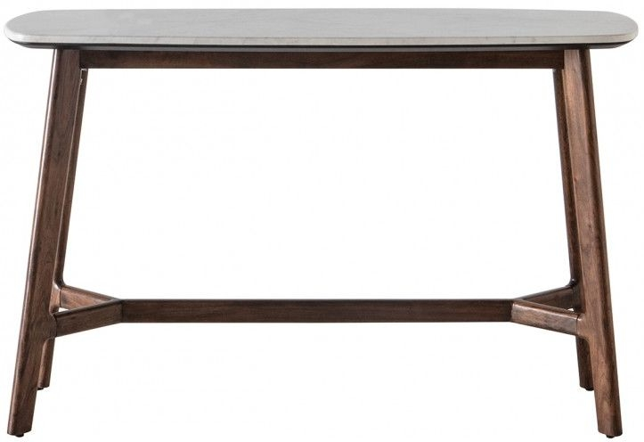 Gallery Barcelona Acacia Wood and White Marble Top Console Table