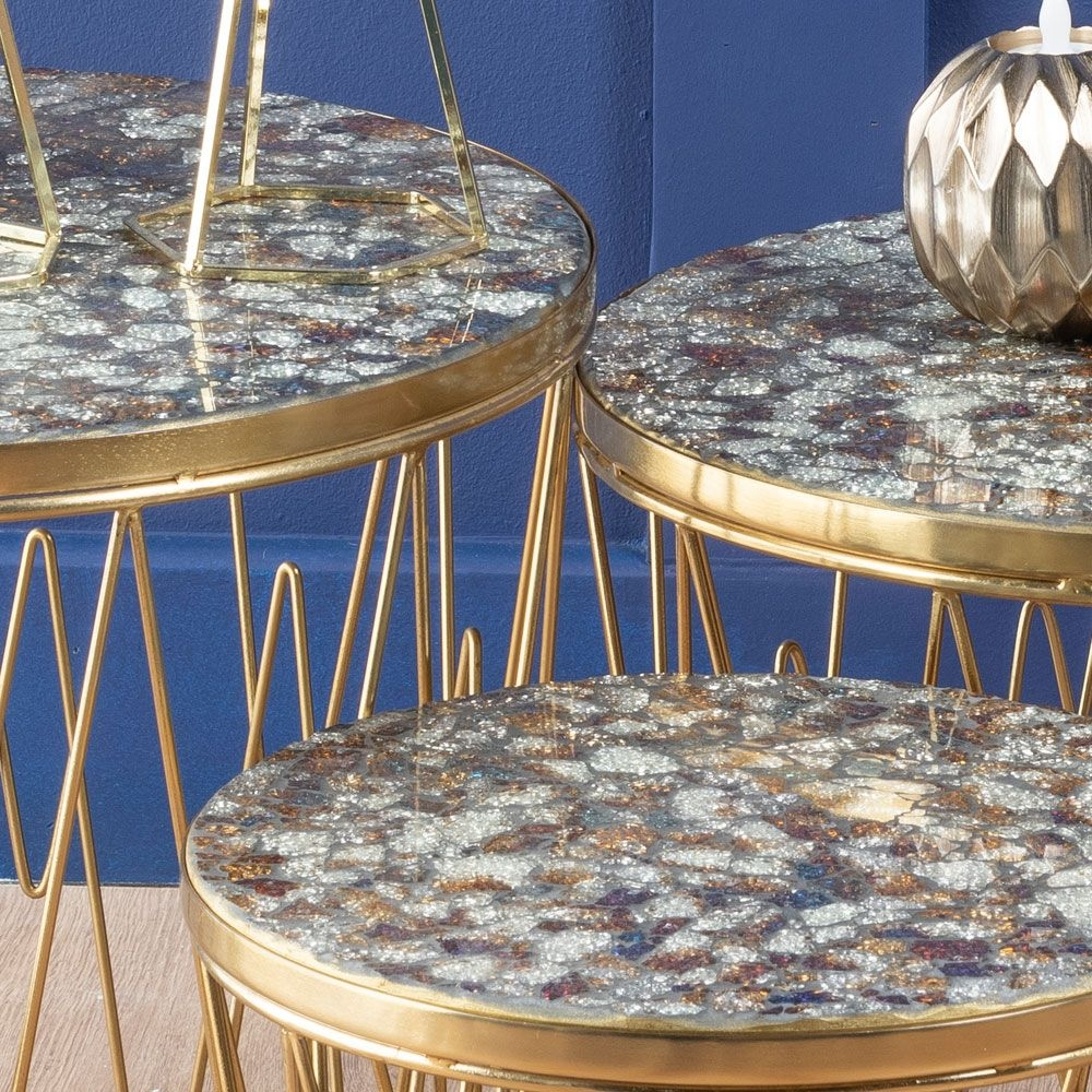 Urban Deco Calley Gold Metal and Mosaic Nest of Tables