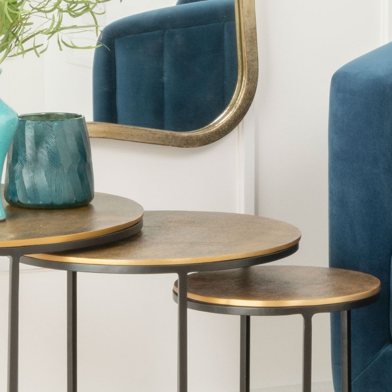 Urban Deco Freya Black Metal and Hammered Brass Nest of Tables
