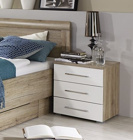 Rauch Blitz 4 Drawer Bedside Cabinet in High Gloss White Front