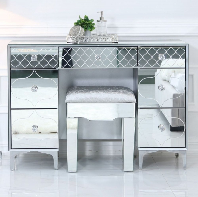 Colorado Mirrored 7 Drawer Dressing Table