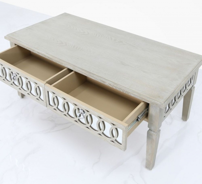 CIMC Melville Mirrored 2 Drawer Coffee Table