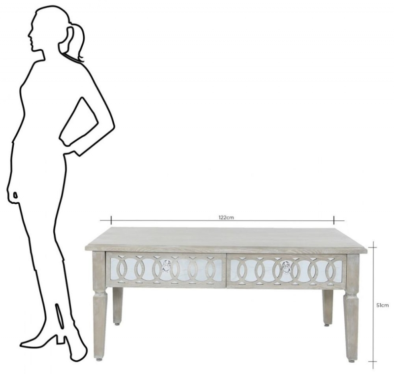 Melville Mirrored 2 Drawer Coffee Table