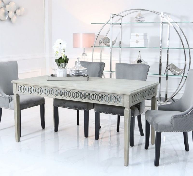 Melville Mirrored 180cm Rectangular Dining Set with 6 Grey Knocker Black Chairs
