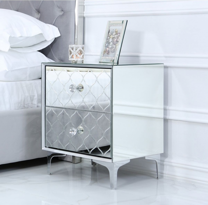Colorado Mirrored 2 Drawer Bedside Cabinet