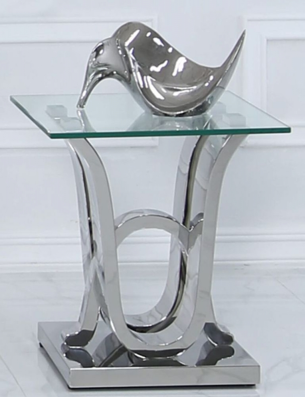 Pineville Glass and Chrome Lamp Table