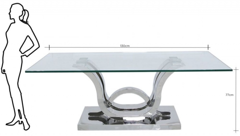 Pineville Glass and Chrome Coffee Table