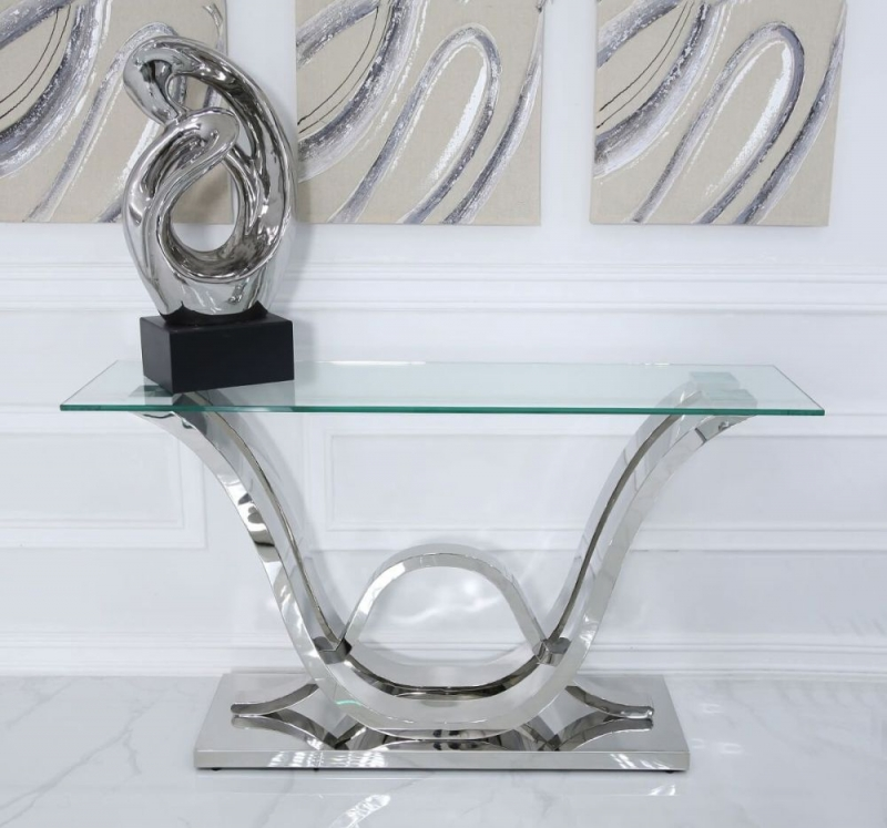 CIMC Pineville Glass and Chrome Console Table