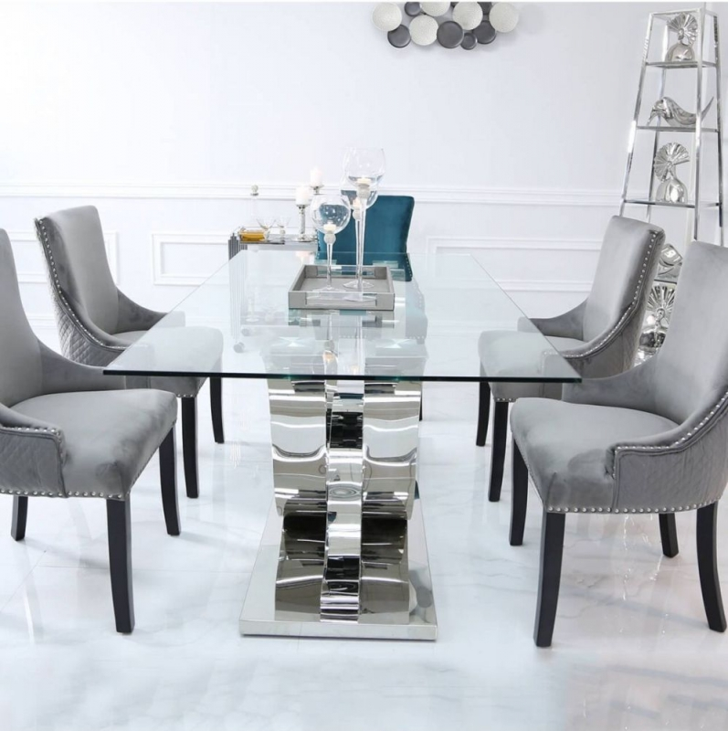 Pineville Dining Table and 6 Chairs - Glass and Chrome