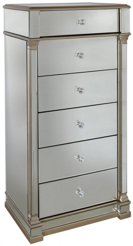 Killona Champagne Mirrored 6 Drawer Tall Chest