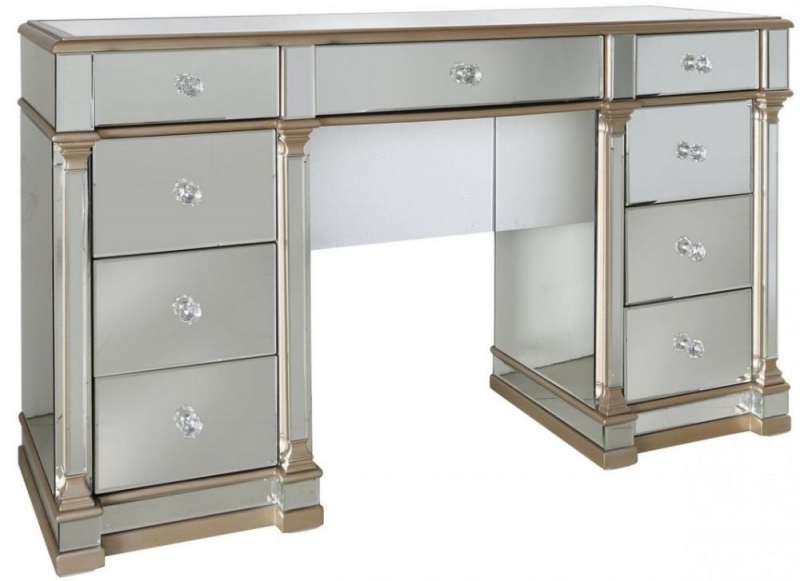 Killona Champagne Mirrored 9 Drawer Double Dressing Table