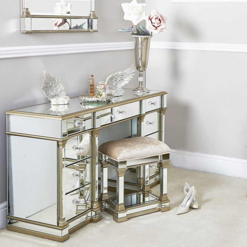 Killona Champagne Mirrored Double Pedestal Dressing Table