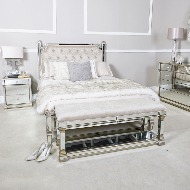 Killona Champagne Mirrored Padded Bench