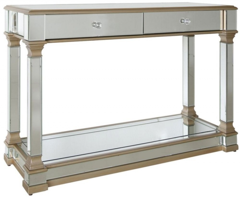 Killona Champagne Mirrored 2 Drawer Console Table