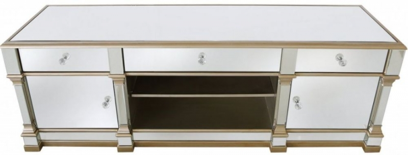 CIMC Killona Champagne Mirrored 2 Door 3 Drawer Wide Entertainment Unit