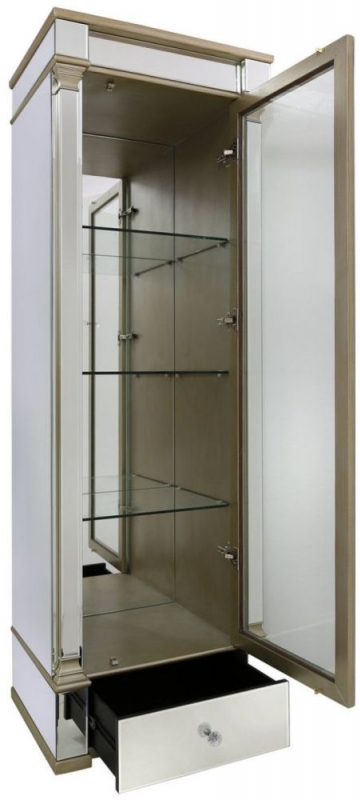 CIMC Killona Champagne Mirrored 1 Right Door 1 Drawer Display Cabinet