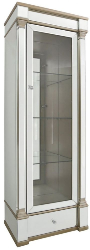 Killona Champagne Mirrored 1 Right Door 1 Drawer Display Cabinet