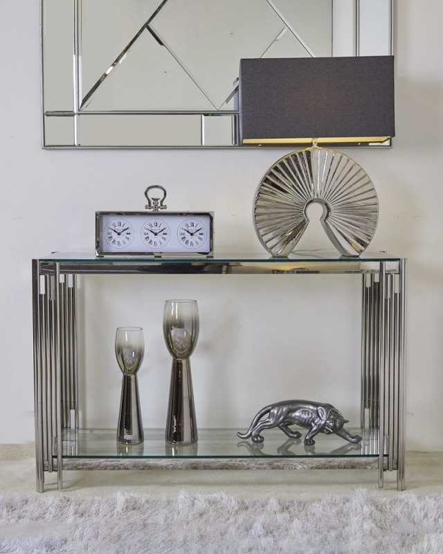 Grambling Console Table - Glass and Chrome