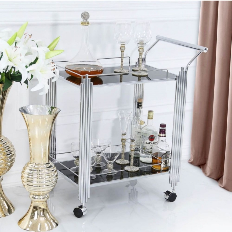 Grambling Drinks Trolley - Chrome and Black Glass