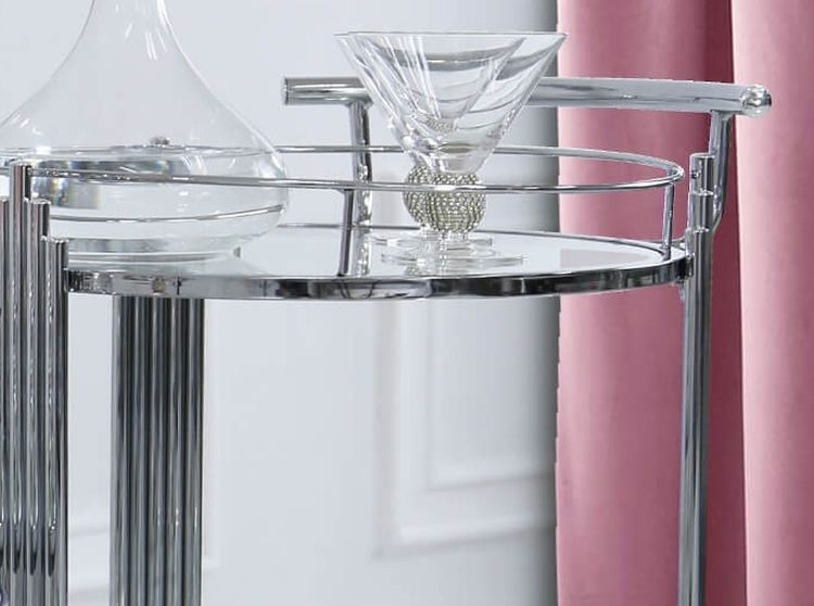 Grambling Drinks Trolley - Clear Glass and Chrome