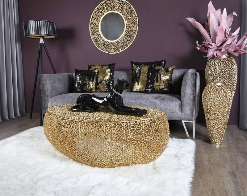 Hessmer Gold Oval Coffee Table