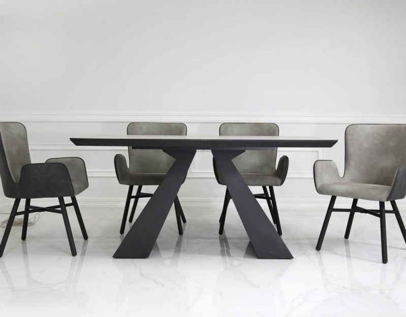 Houma Dining Table and 6 Chairs - Grey and Black