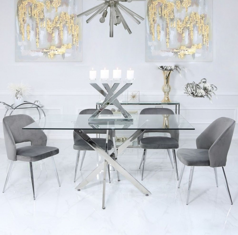 Nanty Dining Table and 4 Grey Scoop Chairs - Glass and Chrome
