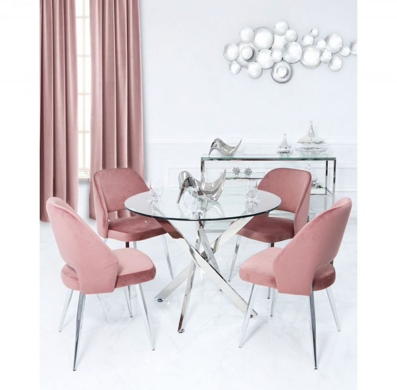 Nanty Large Round Dining Table and 4 Pink Scoop Chairs - Glass and Chrome