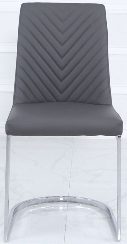 Rougon Grey Faux Leather Metal Dining Chair (Pair)
