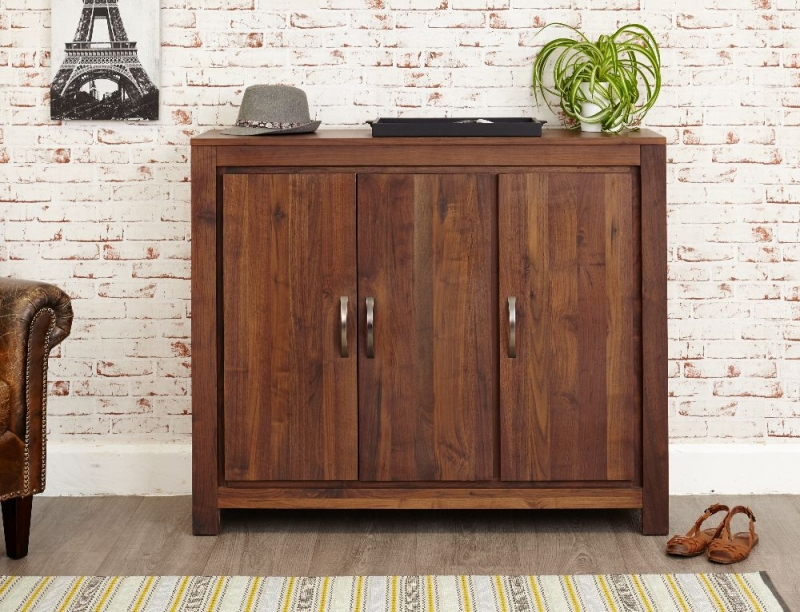 Baumhaus Mayan Walnut Shoe Cupboard - Extra Large