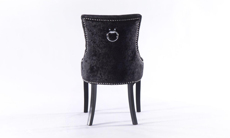 8 x Black Crushed Velvet Knockerback Dining Chair