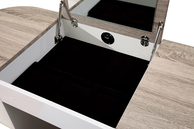 Eros Cashmere High Gloss with Havana Oak 2 Door Vanity Unit