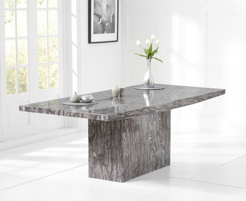 Mark Harris Coruna 160cm Grey Marble Dining Table