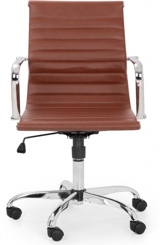 Julian Bowen Gio Office Chair - Brown and Chrome