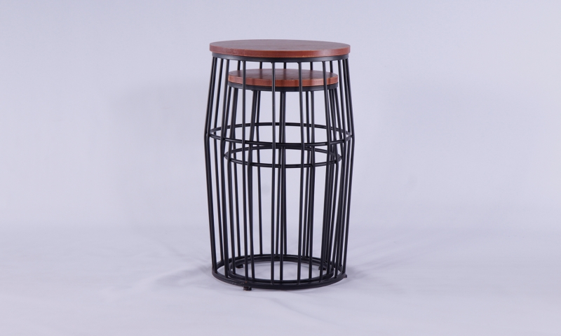 Urban Deco Metal Round Nest of 2 Drum Tables