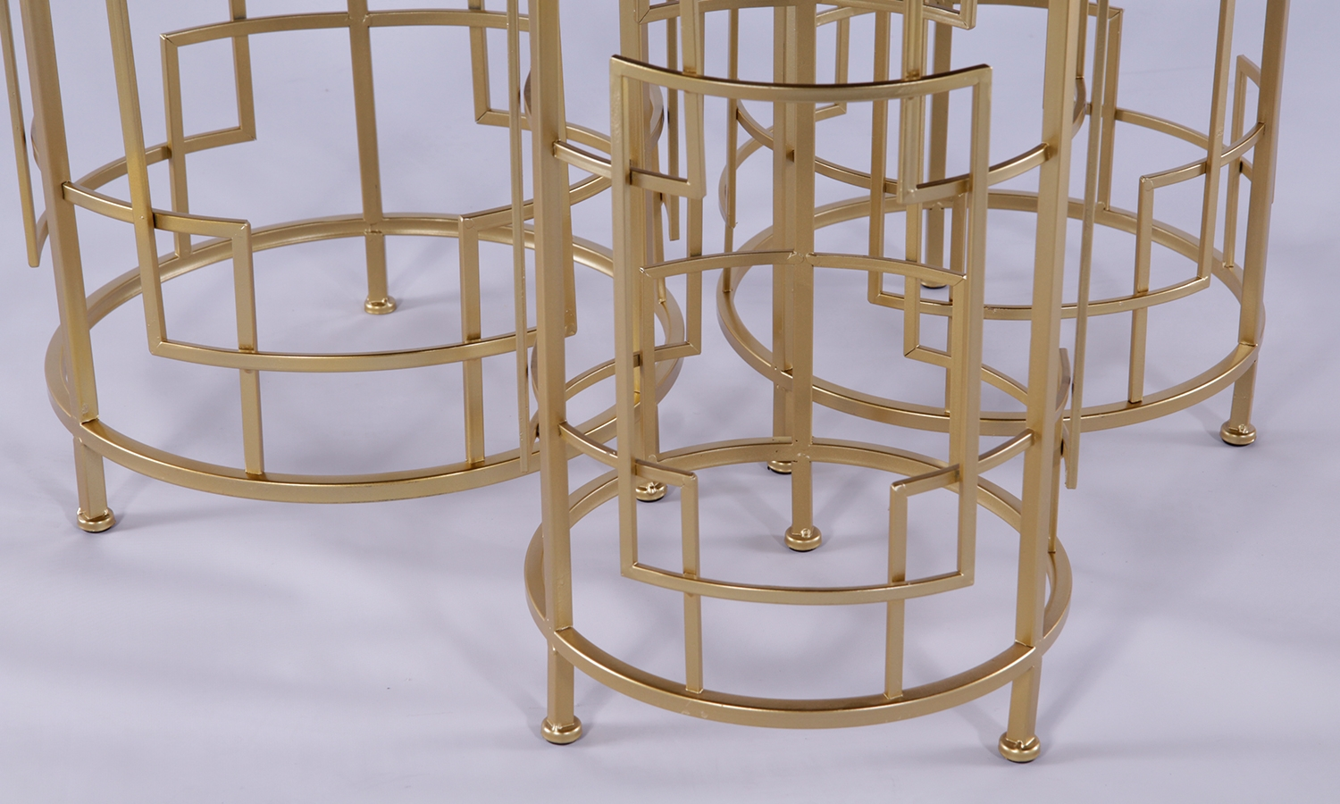 Urban Deco Gold Metal In Black Glass Nest of 3 Tables