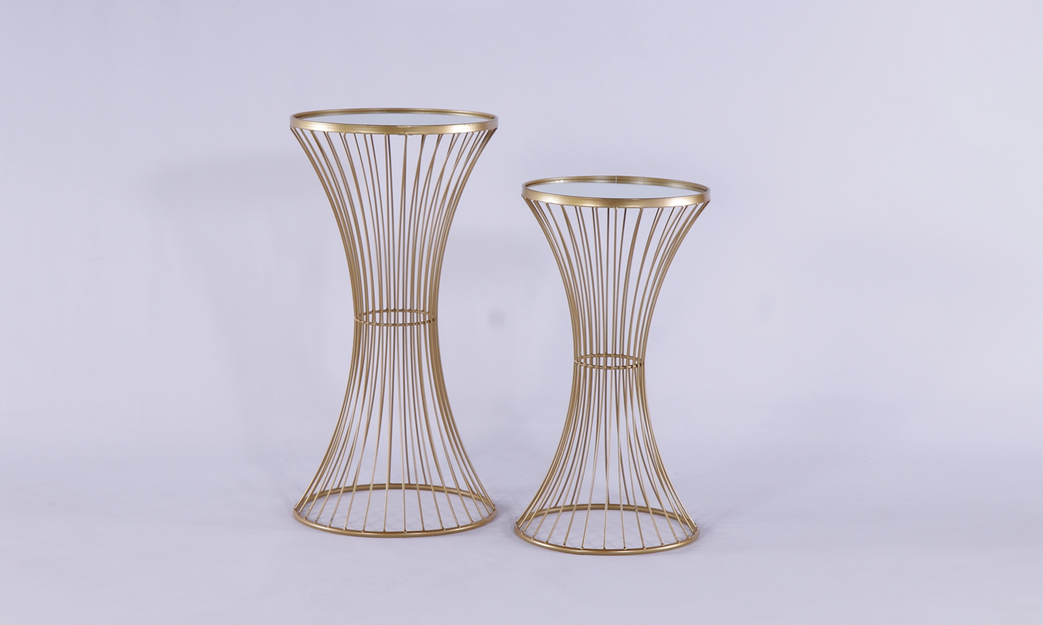 Urban Deco Gold Metal In Mirror Top Set of 2 Side Tables