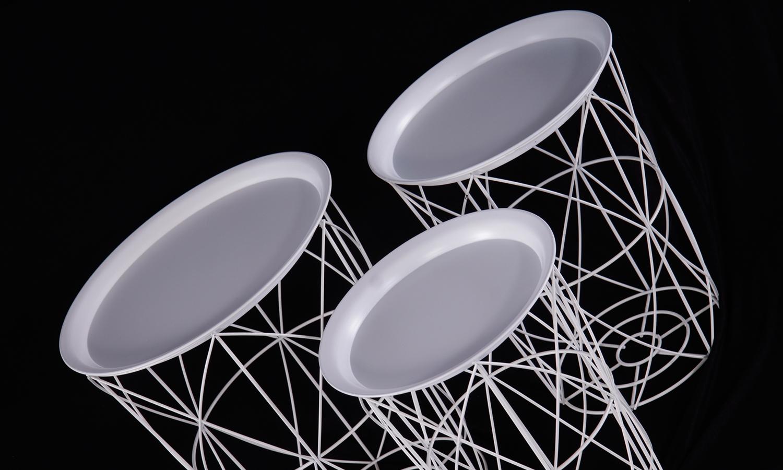 Urban Deco White Metal Set of 3 Tray Tables
