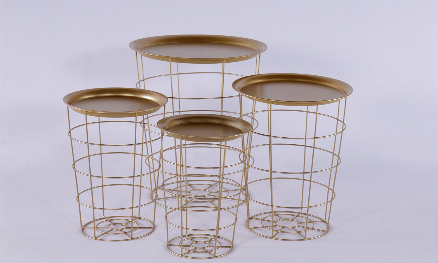 Urban Deco Gold Metal Set of 4 Tray Tables