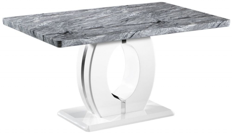 Shankar Neptune High Gloss White with Grey Marble Effect Large Dining Table