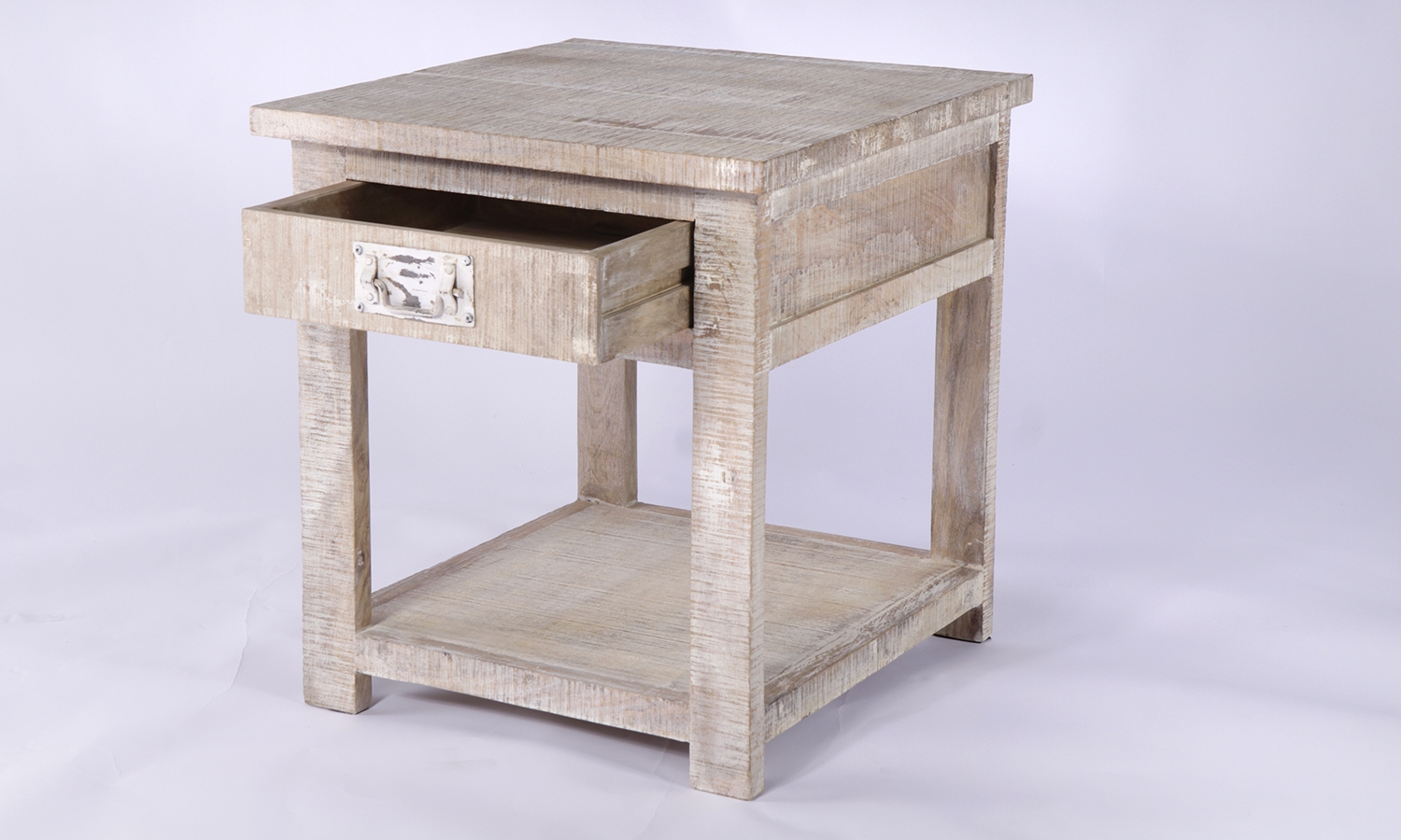 Urban Deco Shabby Chic White Washed Distressed 1 Drawer Lamp Table