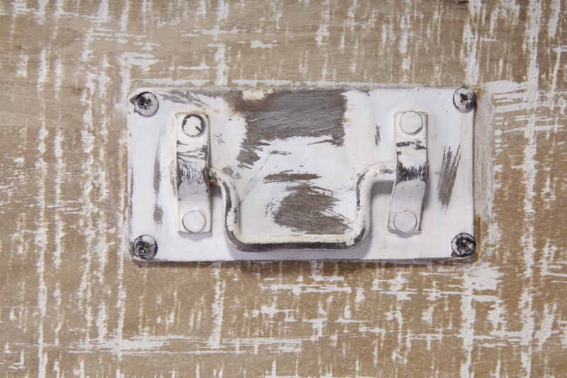 Urban Deco Shabby Chic White Washed Distressed 1 Door Medium Media TV Unit