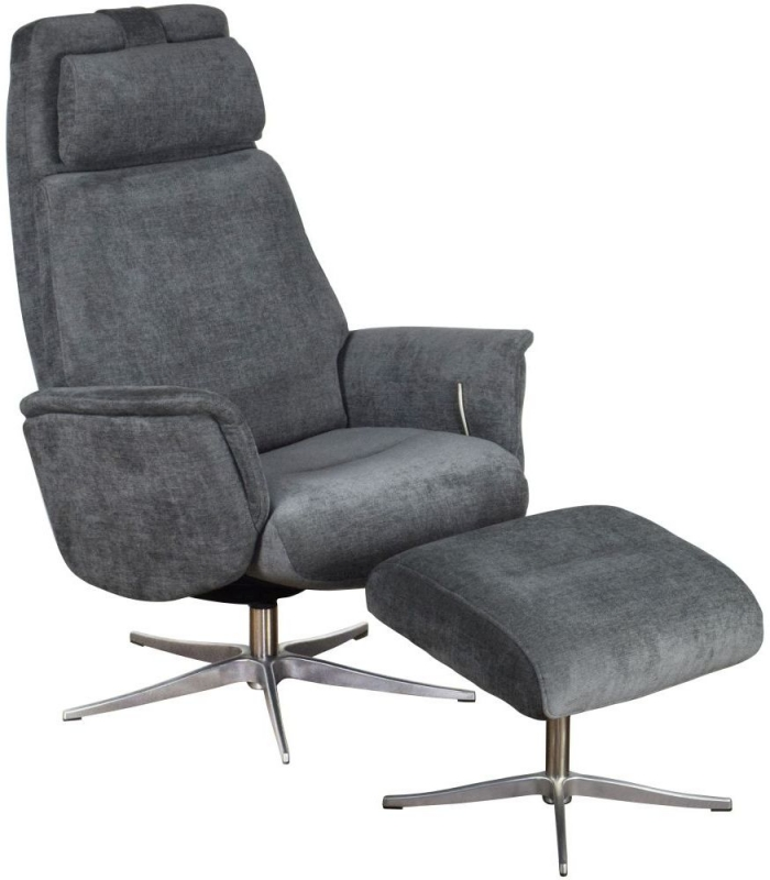 GFA Albury Swivel Recliner Chair with Footstool - Grey Fabric